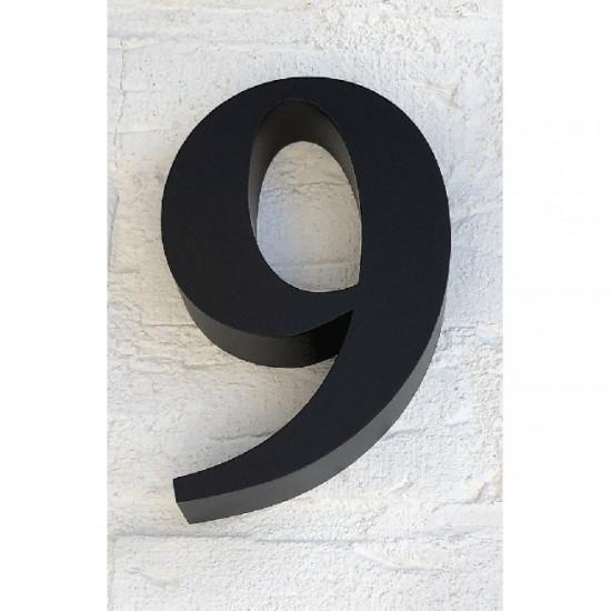Huisnummer 9 RVS Zwart 3D Roma