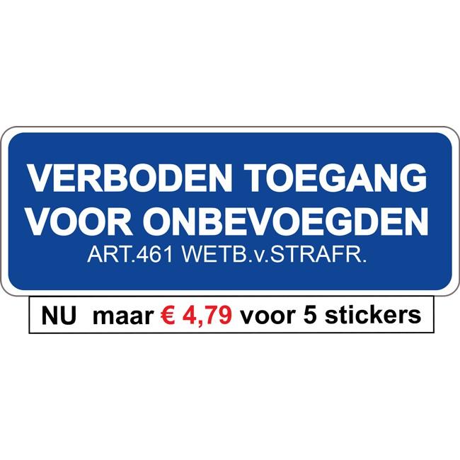 Verboden Toegang sticker | 5 stuks