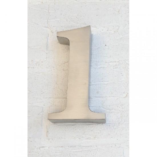 Huisnummer 1 RVS 3D Roma