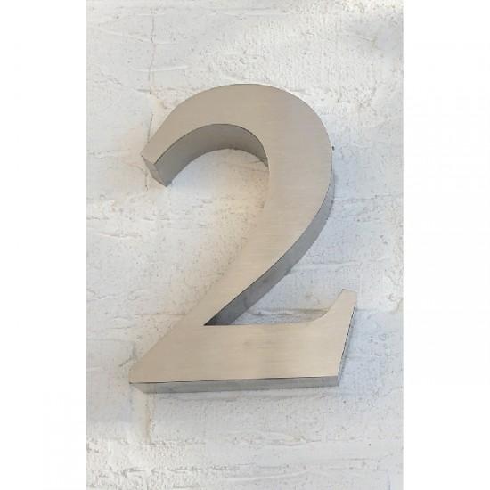 Huisnummer 2 RVS 3D Roma