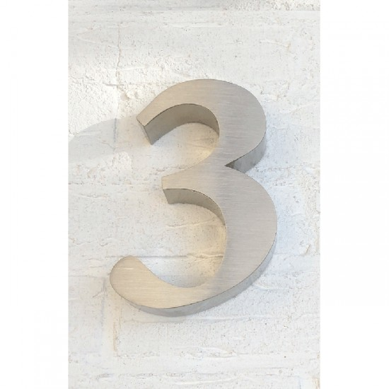 Huisnummer 3 RVS 3D Roma