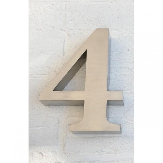 Huisnummer 4 RVS 3D Roma