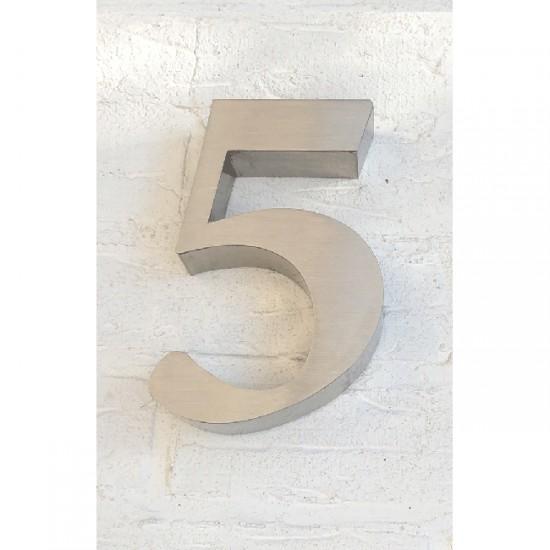 Huisnummer 5 RVS 3D Roma