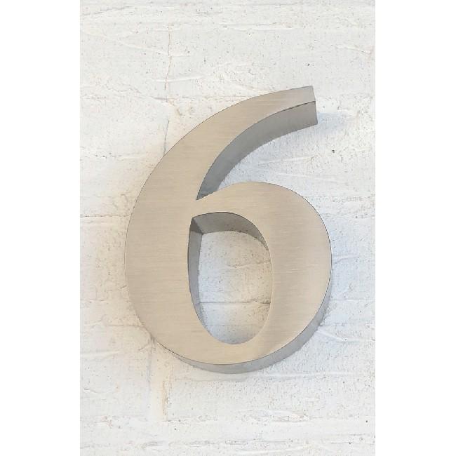 Huisnummer 6 RVS 3D Roma
