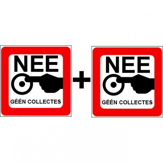 Nee sticker geen collectes...