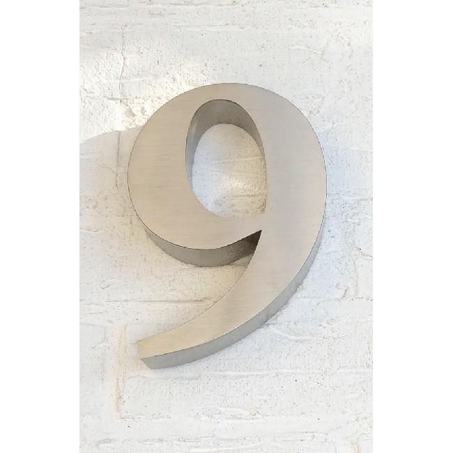 Huisnummer 9 RVS 3D Roma