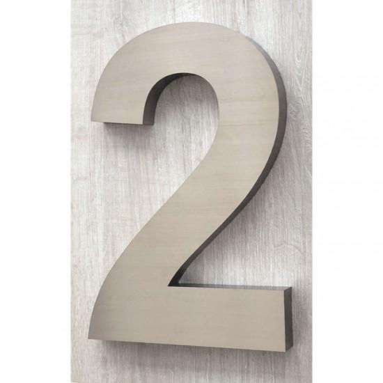 Huisnummer 2 RVS 3D Arial xxl